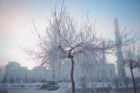 Winter morning in the city. 版權商用圖片