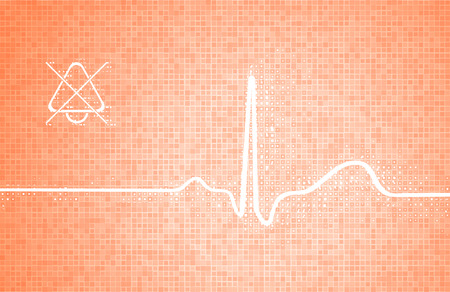 Medical monitor with a fragment of cardiogram (ecg, heart beating) with elements of pixels and a grid as a technological background in orange tones