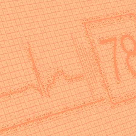 Orange medical scientific abstract background with cardiogram and patient life indicators