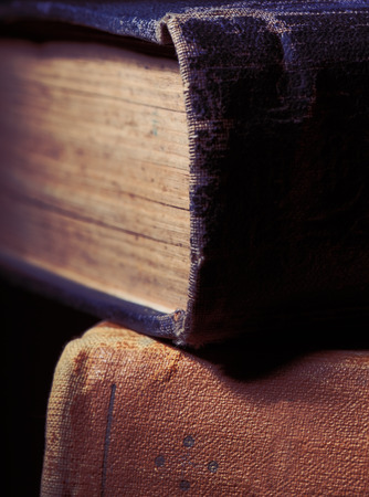 Old books with textile hardcover.