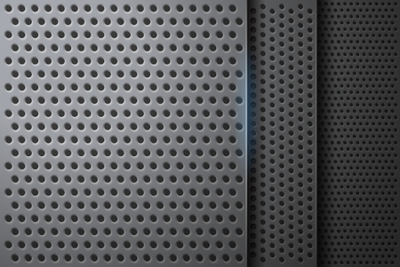 Technological futuristic perspective background of perforated plates with realistic holes in vector format