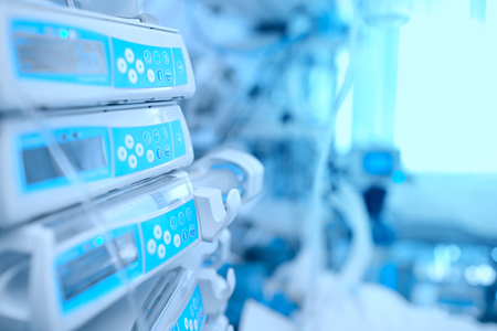 Medical equipment at the bedside in hospital.