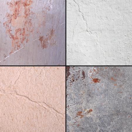 Textured surfaces in the set: metal, whitewash, cardboard.