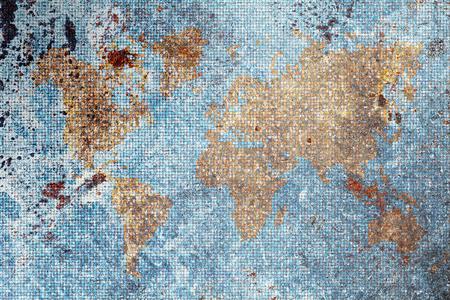 Retro-styled world map, vintage background.