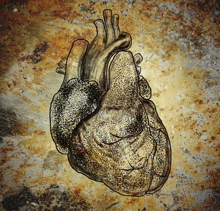 Human heart image on the messy iron background. 版權商用圖片