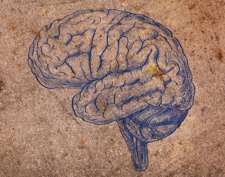 Human brain image on the obsolete metal texture. 版權商用圖片
