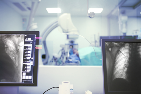 Medical procedure under the x-ray control.