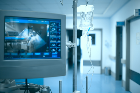 Life support equipment in the hospital hallway, medical concept of emergecy aid.
