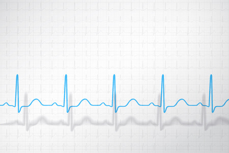 Normal ECG chart of healthy man, conceptual vector background. Illustration