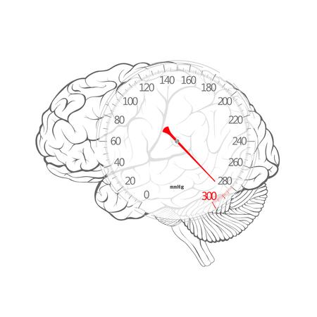 Rode pijl van bloeddruk wijzerplaat op de hersenen, vector afbeelding.