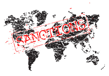 Stamp sanctions on the map in the form of a grunge, sloppy shape as a concept of international trade war.