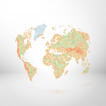 World map located in space. Vector relief card background. Dot style Çizim