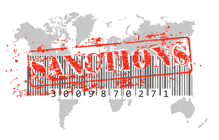 Sanctions seal on the background of the world map with barcode as a concept of global crisis and trade wars. Vector illustration 일러스트