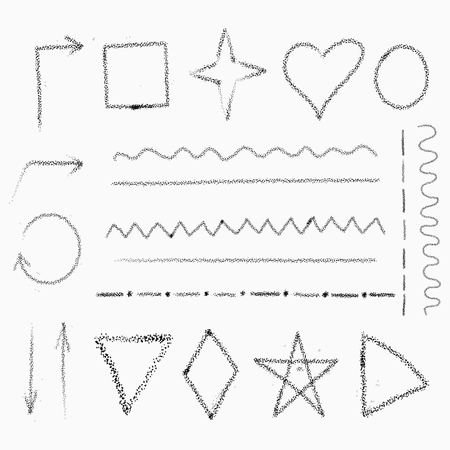 Isolated collection arrows, geometric abstract shapes, various types of lines, made in pencil technique. Vector illustration