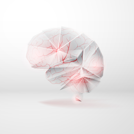 Vector abstract human brain with blood vessels (arteries) as cerebrovascular concept. Çizim