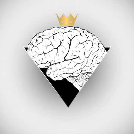 Worshiping the human mind concept in the form of a brain with a crown Çizim