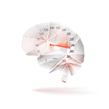 Sphygmomanometer with the rise of blood pressure and the brain as a concept of arterial blood hypertension. Isolated on white background. Illustration. Stock Photo