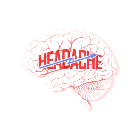 Brain with lightning and the word Headache. Isolated on white background. Illustration