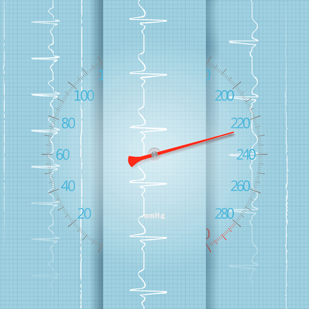 Cardiological high blood pressure, health symbol in the form of a sphygmomanometer and an ECG Stok Fotoğraf