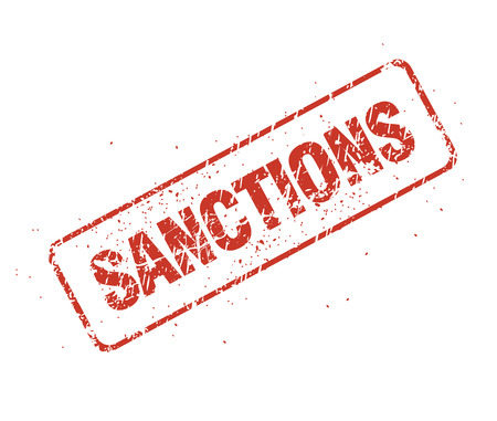 Sanctions inscription in the form of a grunge shabby seal impression Isolated on white background. Illustration.