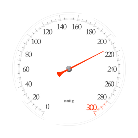 Sphygmomanometer (mechanical tonometer) isolated on white background. Vector illustration as a cork, emblem, sign, icon