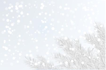 Winter tree branch xmas tree on a background of snowy frosty air as a seasonal card Фото со стока