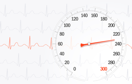 High rate of blood pressure on the background of cardiogram lines Illustration Stok Fotoğraf