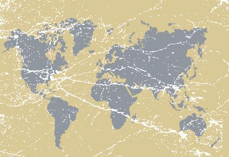 Vintage, grunge world map illustration