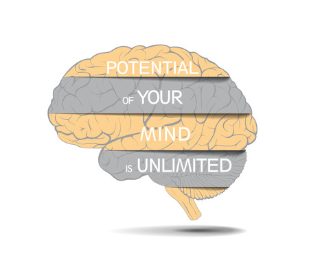 Abstract human brain spatially spread with inscriptions as a concept of boundless human capabilities. Isolated on white background. Illustration.