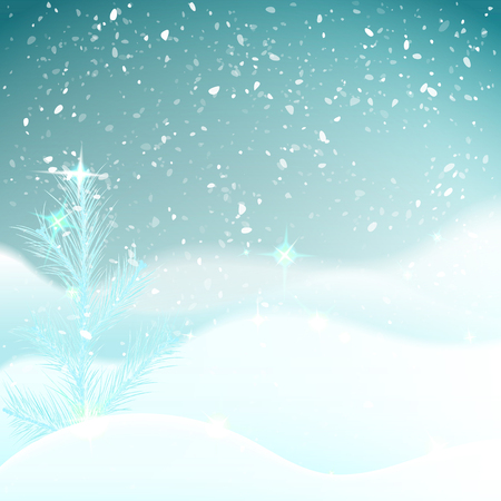 Winter background with frosty spruce (pine) snowbank with snowfall night sky. Greeting card for happy new year and christmas.  Xmas card