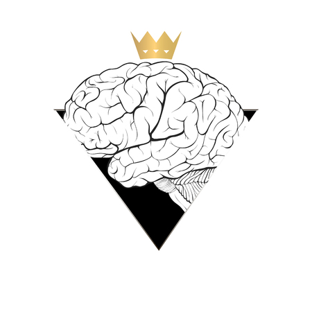 Worshiping  the human mind concept in the form of a brain with a crown. Illustration