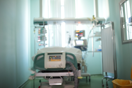 Single patient room with observation window in the intensive care unit, unfocused background. Stok Fotoğraf
