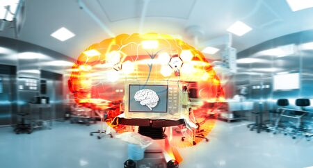 Human brain on a computer display and its enlarged color projection in a advanced equipped laboratory. 版權商用圖片