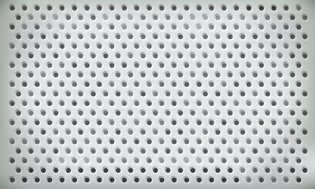 Vector perforated steel plate for textural techno background. Light gray wallpaper with holes. Industrial Machine Rough Design Çizim