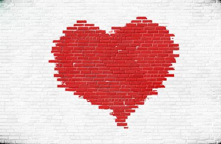 Heart painted on a brick wall vector illustration of love