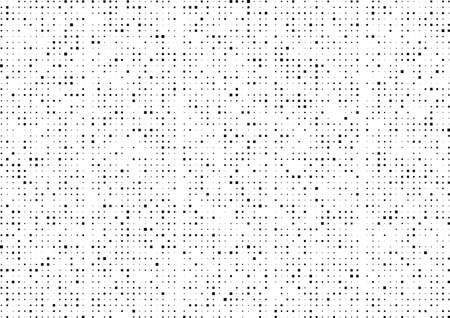 Abstract black dots square shaped and different sized on a white background.