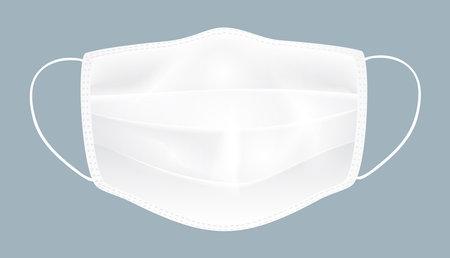 White medical mask on gray background, vector.
