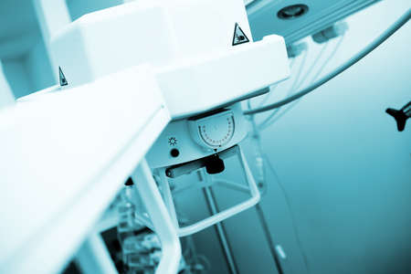 Mobile x-ray apparatus in the hospital room.