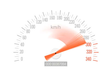 Speedometer with red arrow sweeping off-scale isolated on white background, vector.