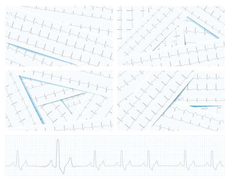 Scattered ECG charts as a healthcare background, vector. 向量圖像