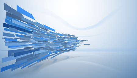 Colored rectangle pieces in directed motion, vector.