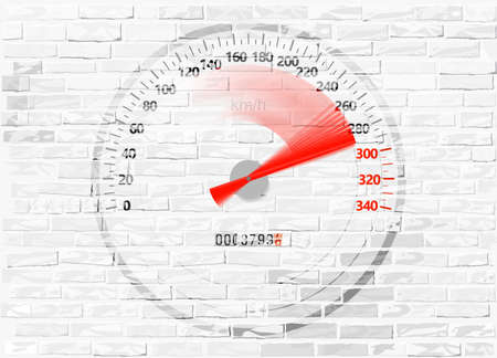 Speedometer with overswinging red arrow on the whitewashed brick wall, vector. 向量圖像