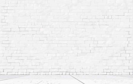 Brick background with wall and floor realistic vector illustration. Easily editable colors, unique hand-drawn.