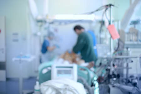 Medical doctors and nurse takes care og patient in the emergency room, defocused background.