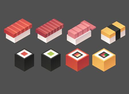 sushi: set of stylish isometric sushi icons Illustration