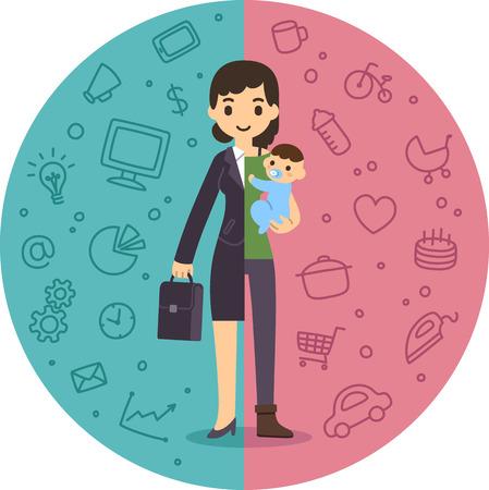 woman business suit: Illustrazione del concetto di vita e di conciliazione.