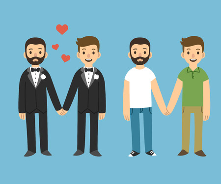 casamento: Casal gay feliz no vestuário do casamento e roupas casuais