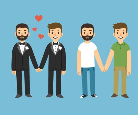 boda gay: feliz pareja gay en traje de la boda y ropa casual