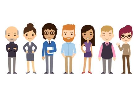 Jogo dos executivos diversos isolados no fundo branco. Ilustração