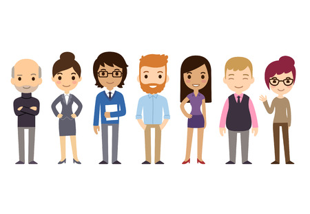 staff team: Set of diverse business people isolated on white background.